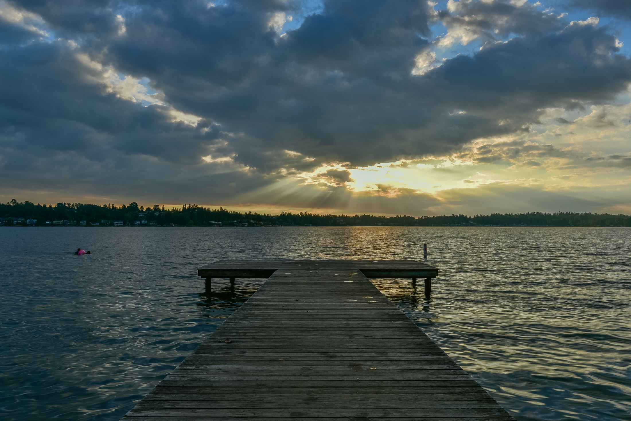 Picture of a dock on lake stevens during sunset