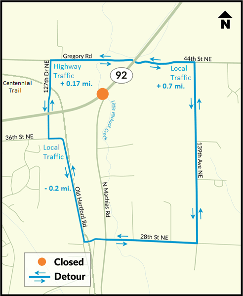 SR 92 Construction Closure - Detour Routes
