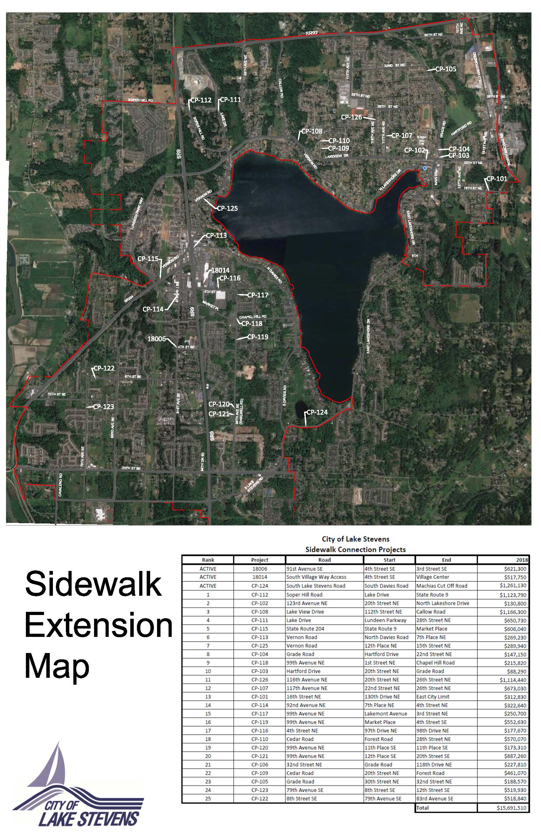 Sidewalk Extension Map - Final