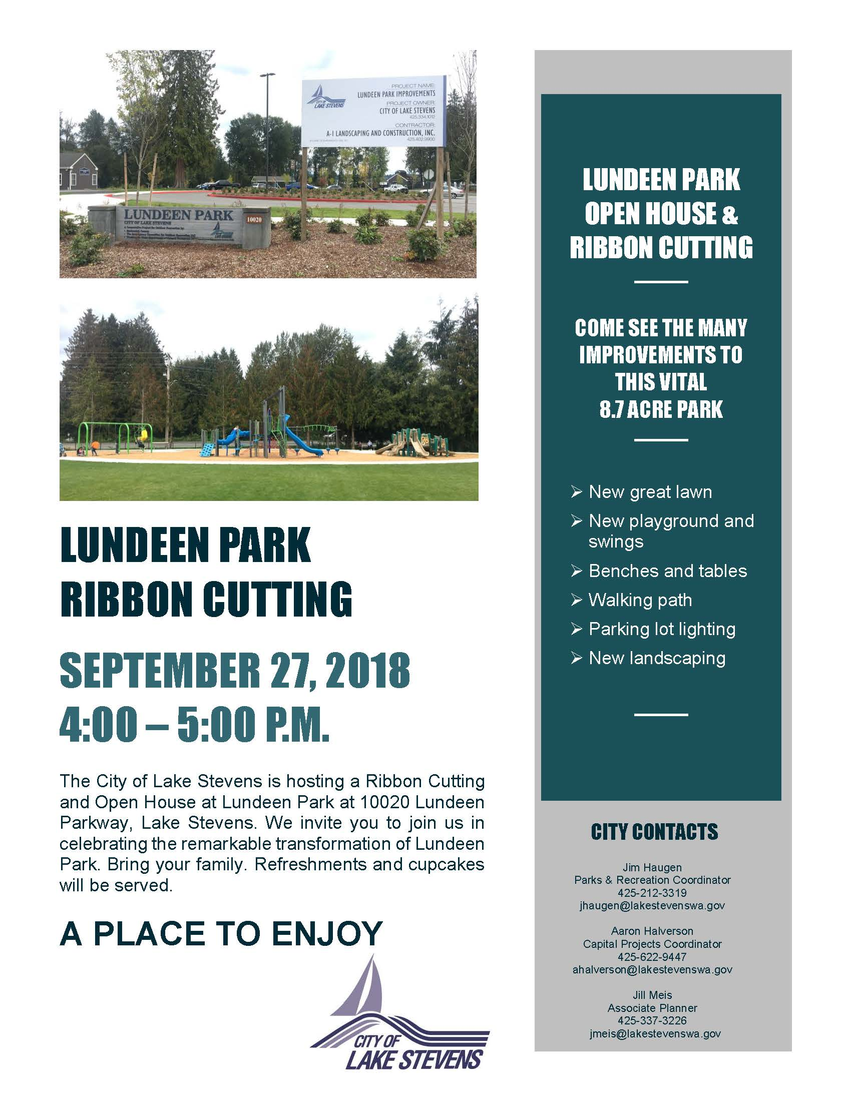 Lundeen Park Park Open House & Ribbon Cutting 9-27-18