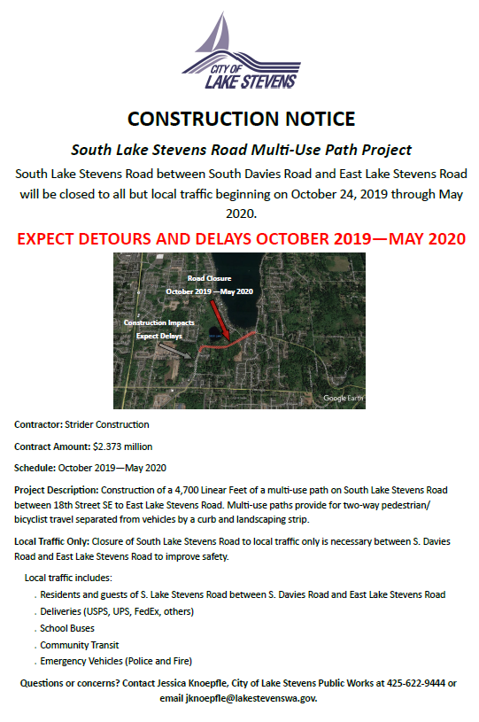 S Lake Stevens Rd closure